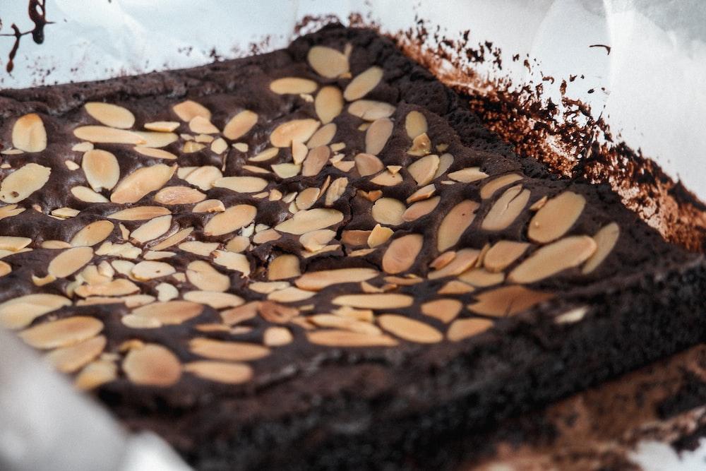 brown and black chocolate cake