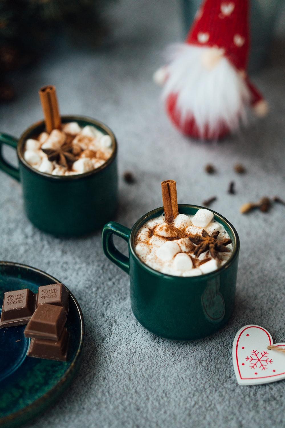 green ceramic mug with ice cream