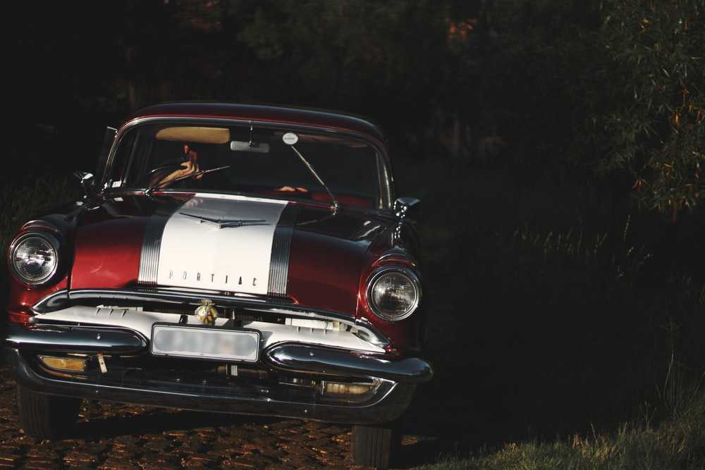 red and white vintage car