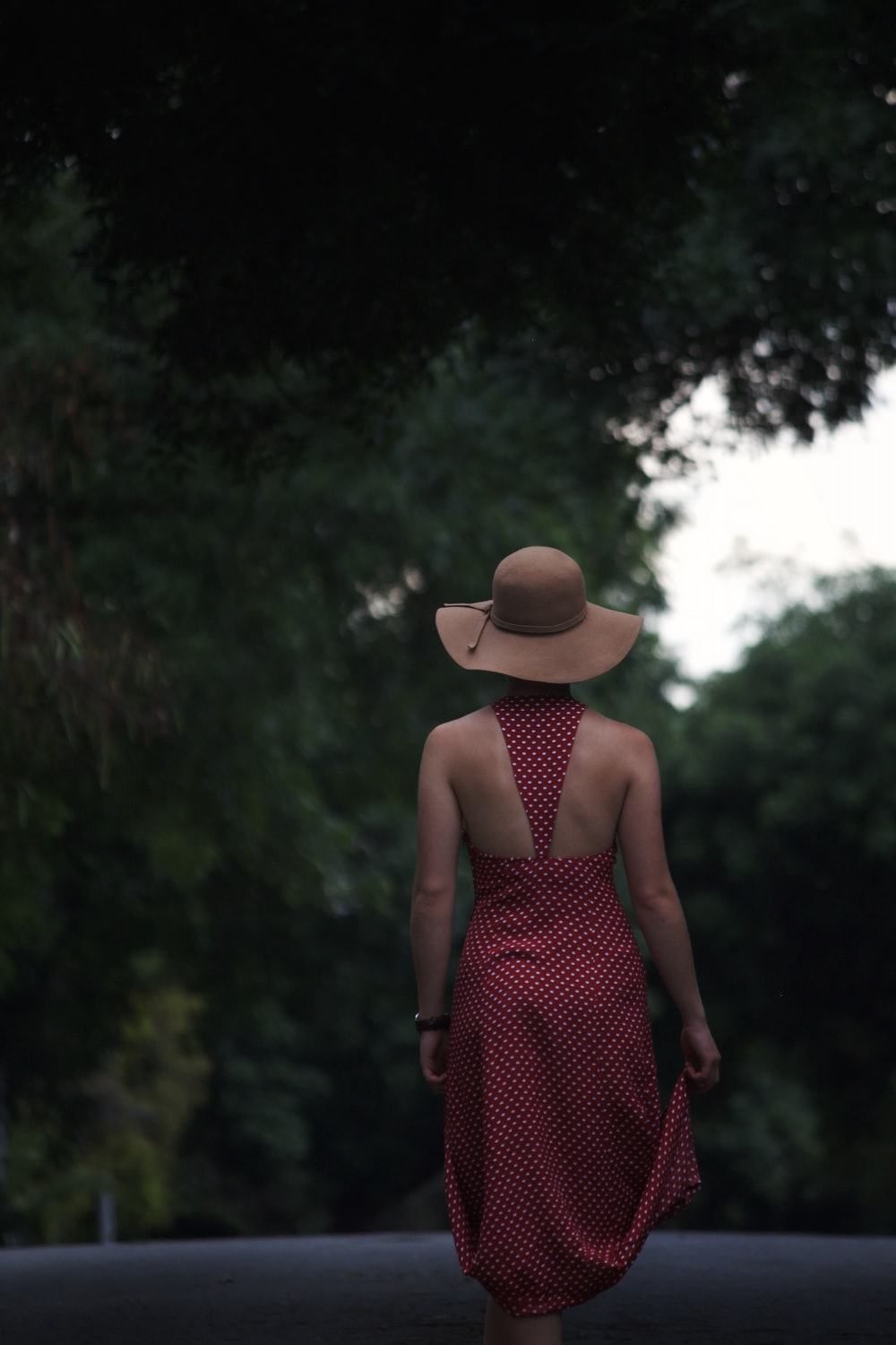 woman in black and red sleeveless dress wearing brown fedora hat standing near green trees during