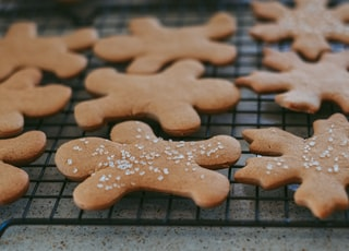 brown heart shaped cookie on black metal frame