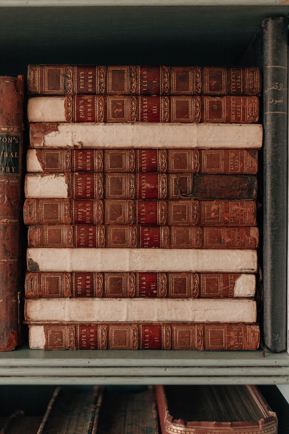 brown and white books on shelf