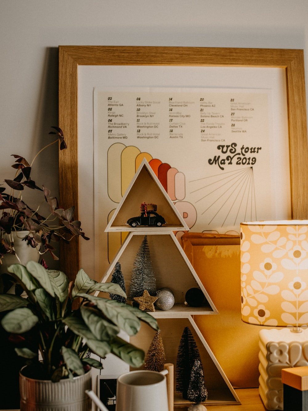 brown wooden frame with white and brown polka dot paper