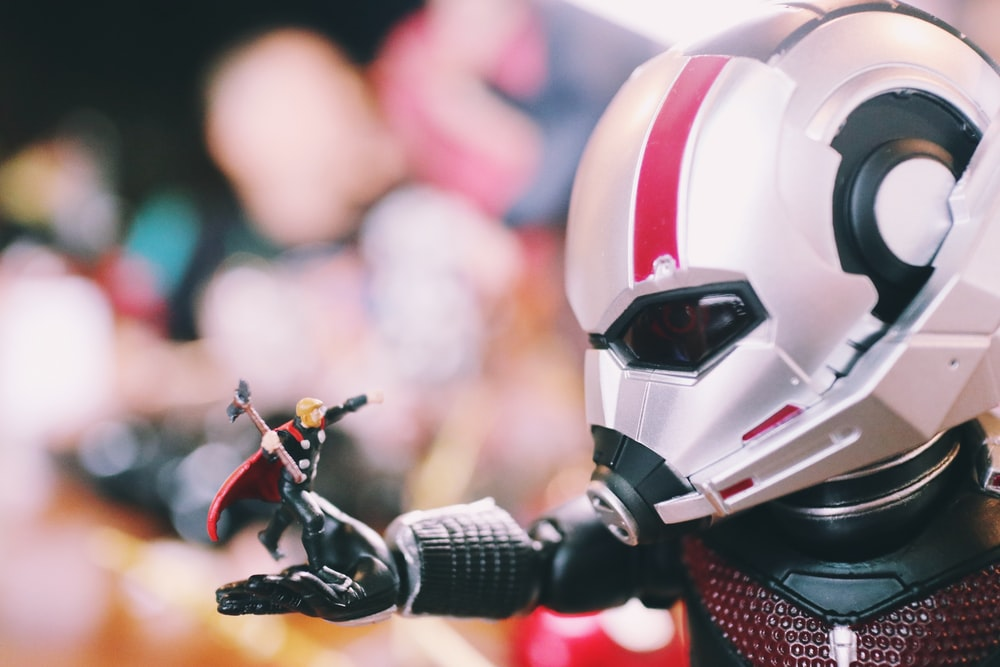 red and white robot toy