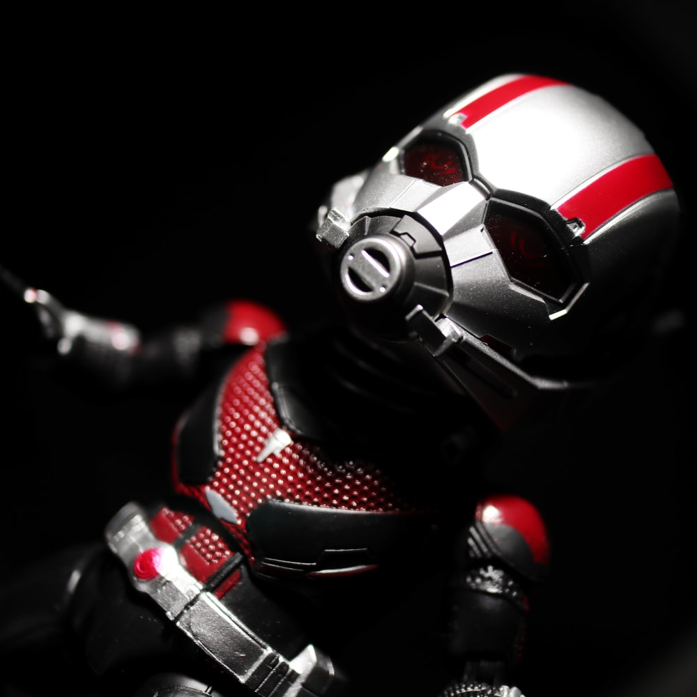 red and black robot toy