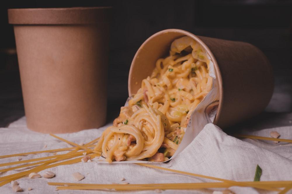 pasta in brown plastic bucket