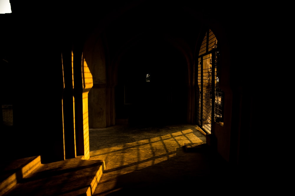 brown and black hallway with brown wooden doors