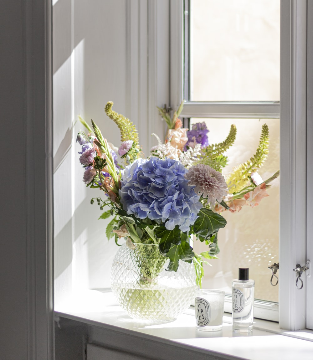 purple and white flowers in white ceramic vase beside window