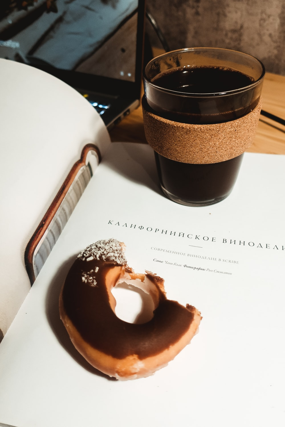 chocolate donut on white paper
