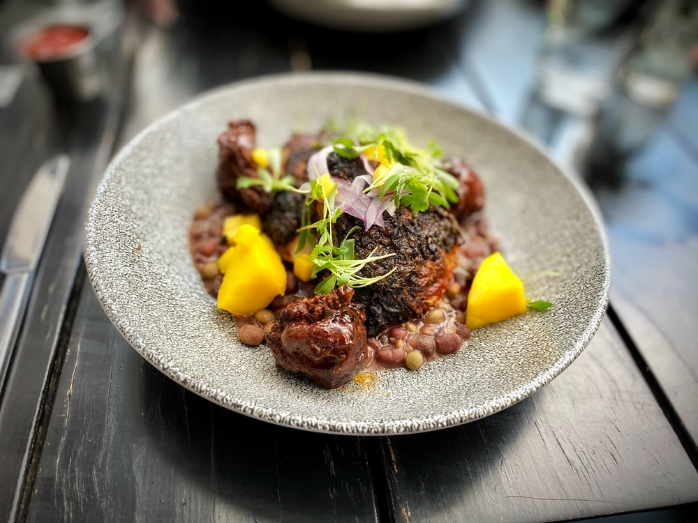 cooked food on gray ceramic plate