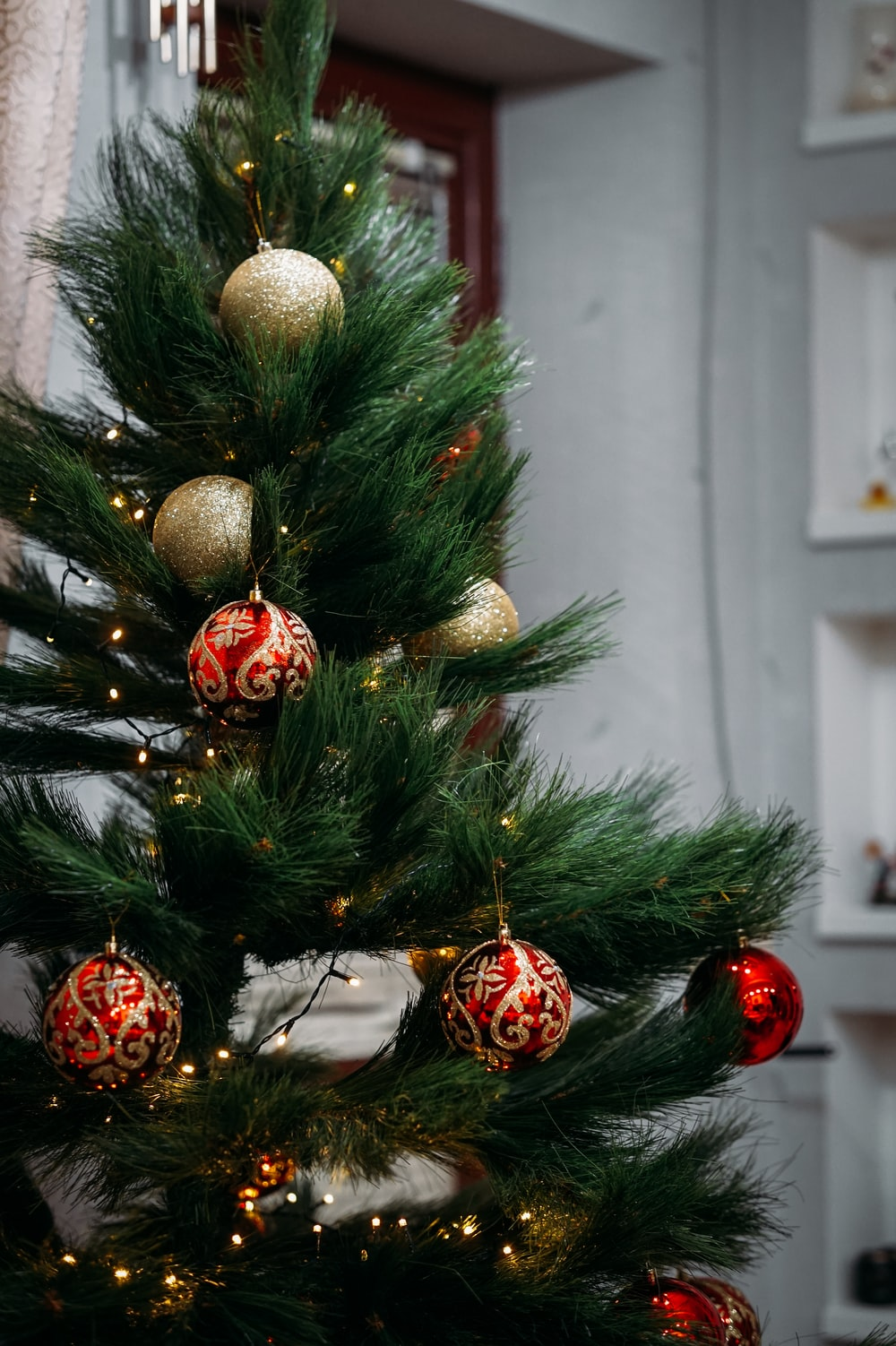 green christmas tree with baubles