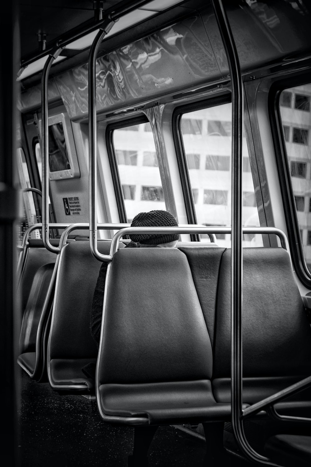 blue and gray bus seats
