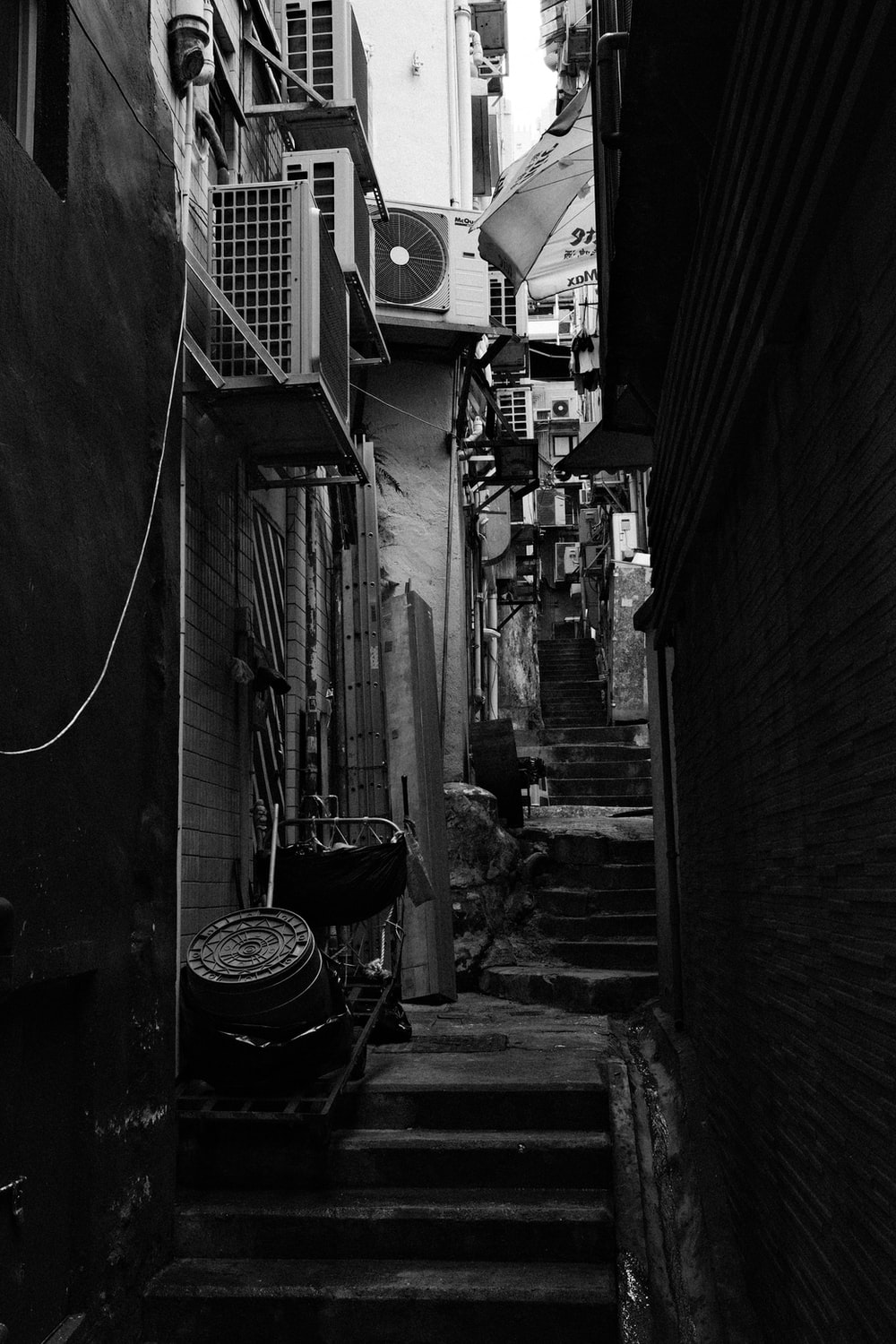 grayscale photo of a street