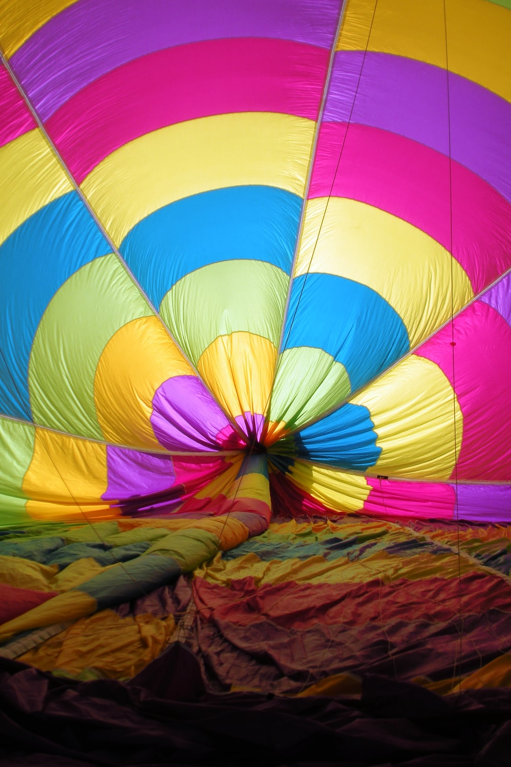 blue red and yellow hot air balloon