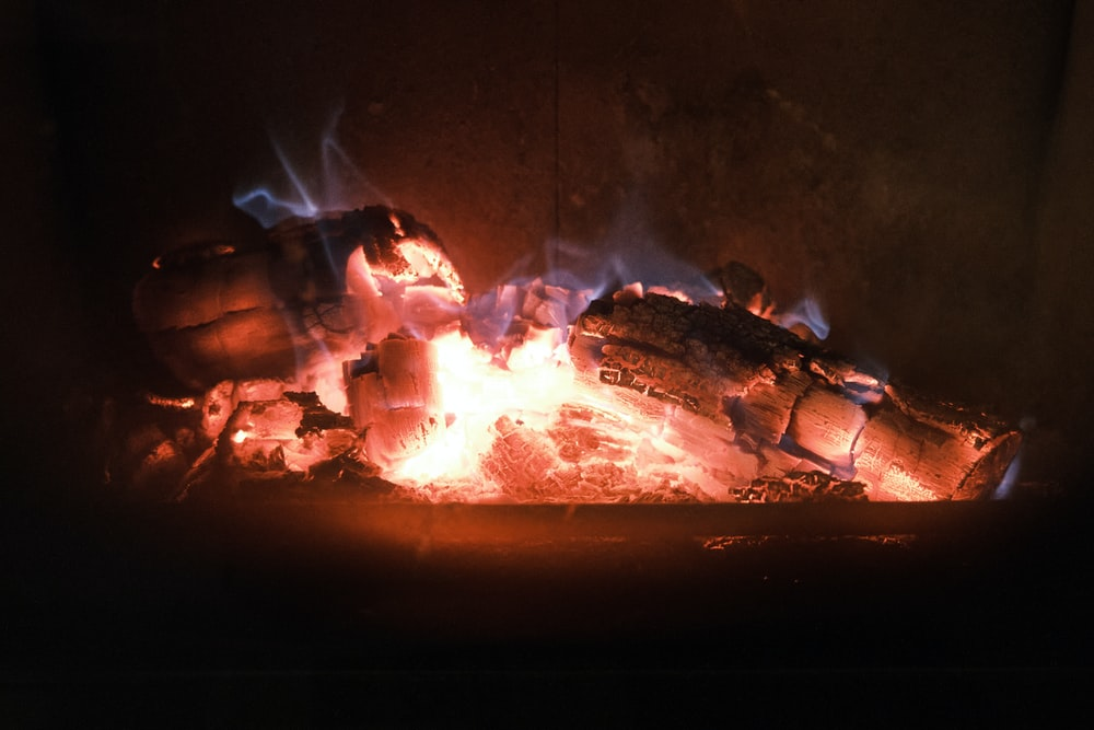 burning firewood in fire pit