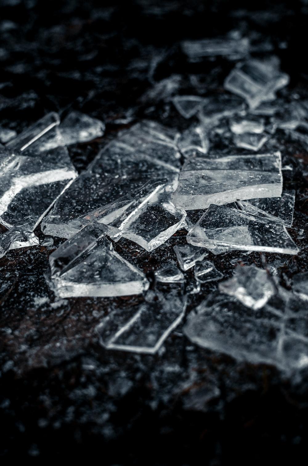 broken glass on black surface