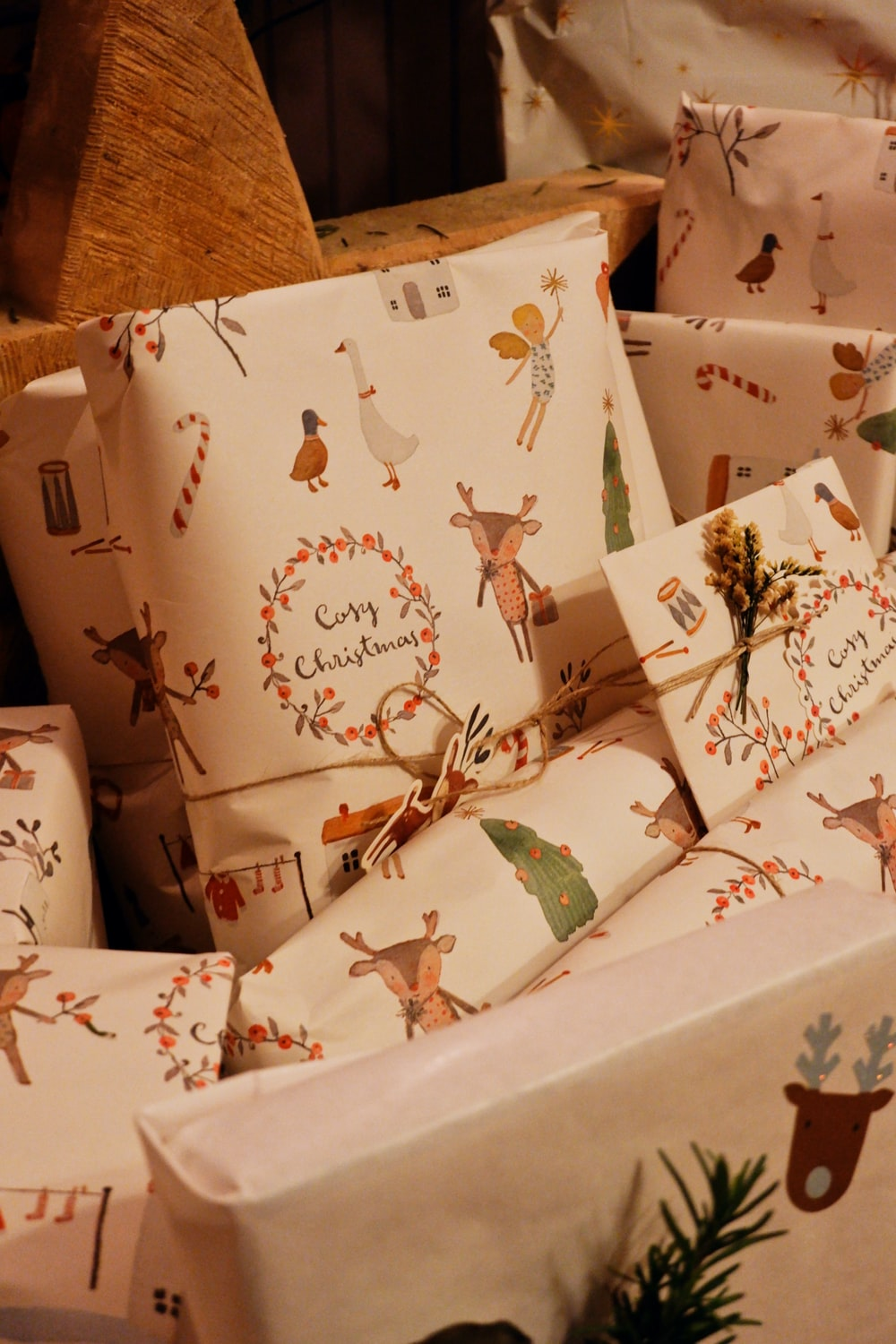 brown and green floral gift boxes