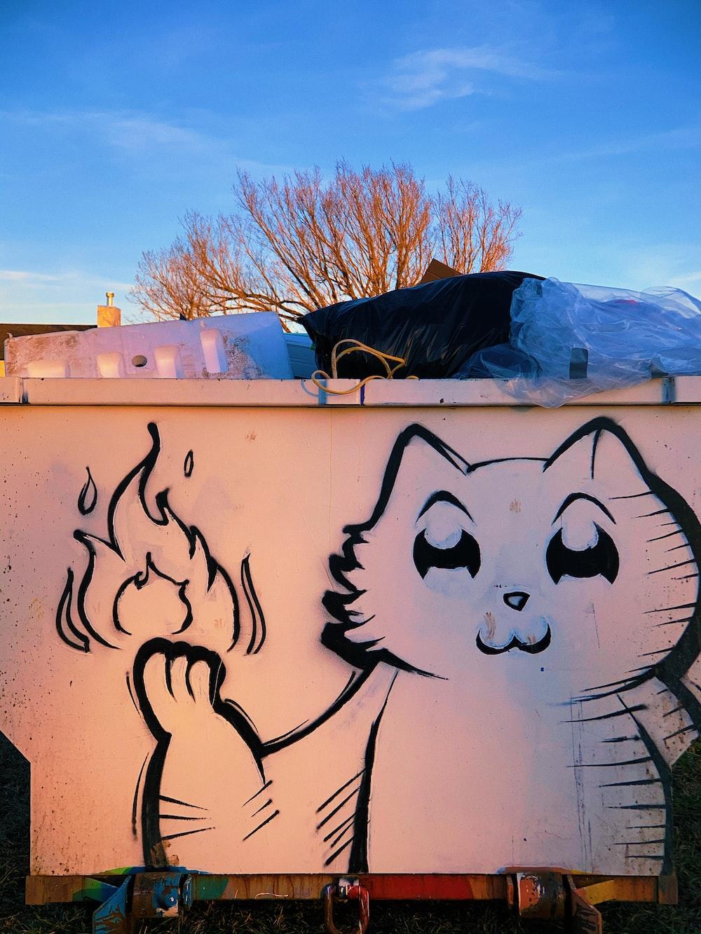 white and black panda graffiti