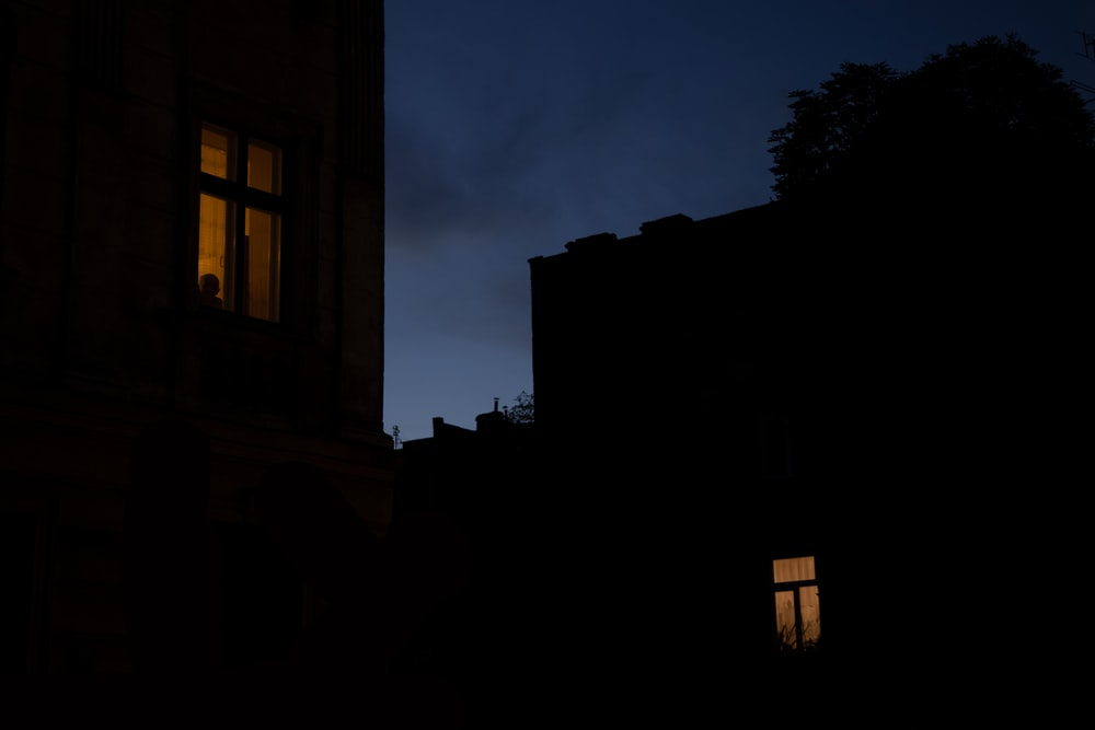 silhouette of building during night time