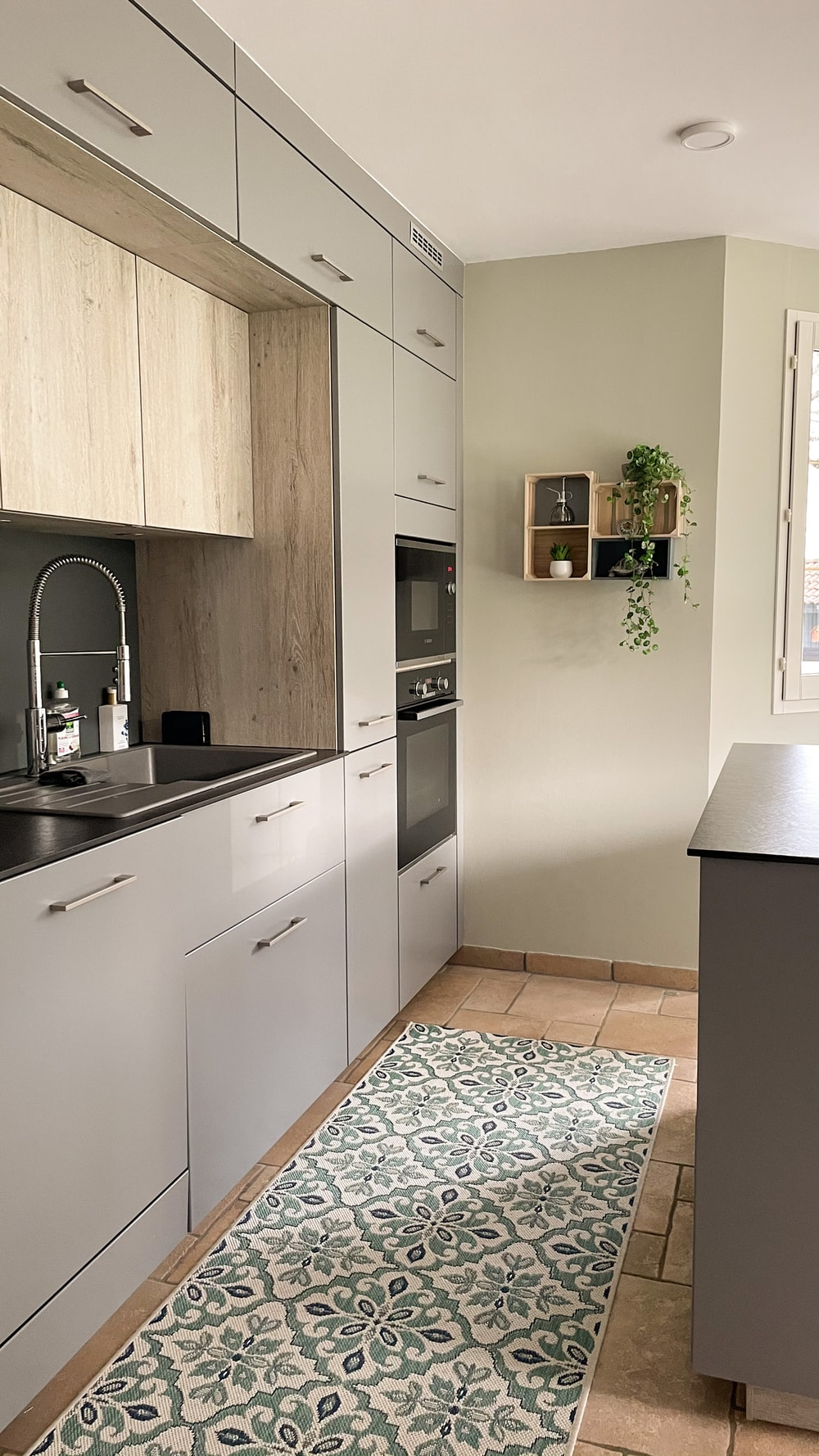 white and black kitchen cabinet