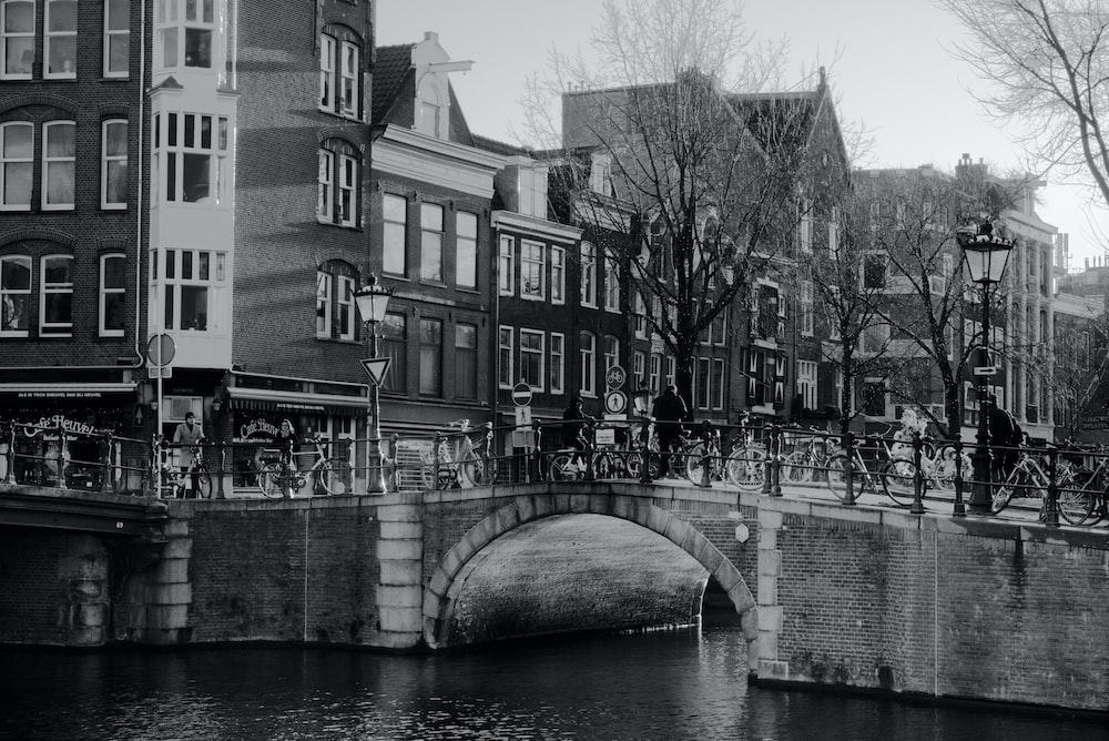 grayscale photo of concrete bridge over river