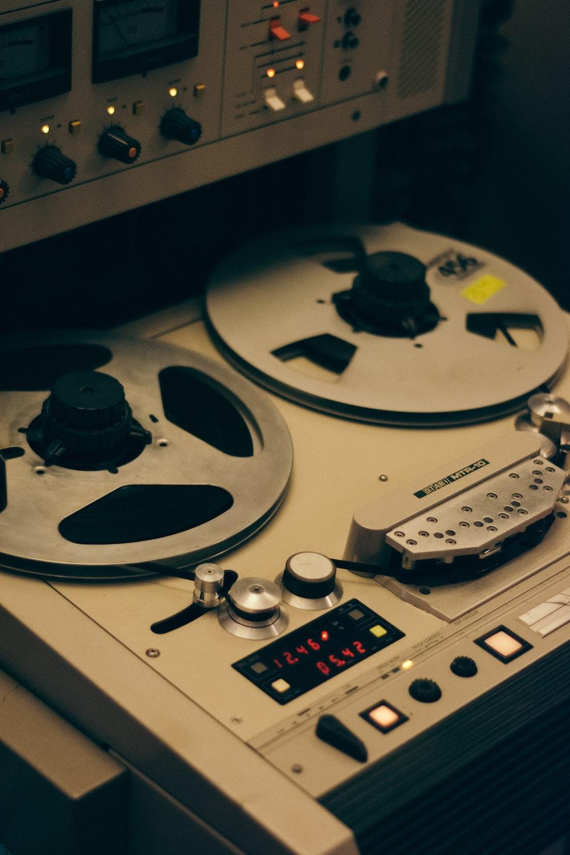 black and gray dj controller