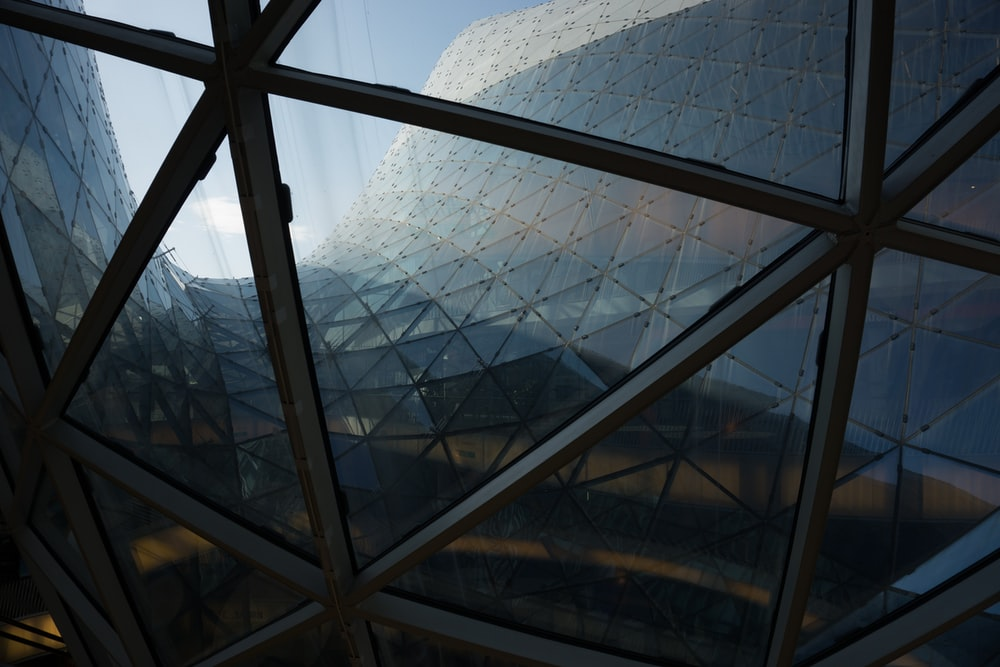 gray metal frame glass roof