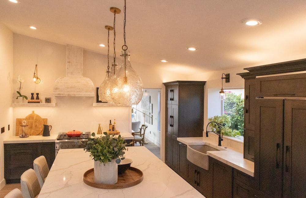 white and brown kitchen island