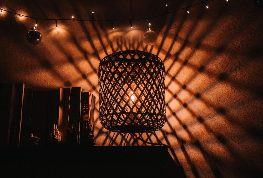 black metal framed pendant lamp