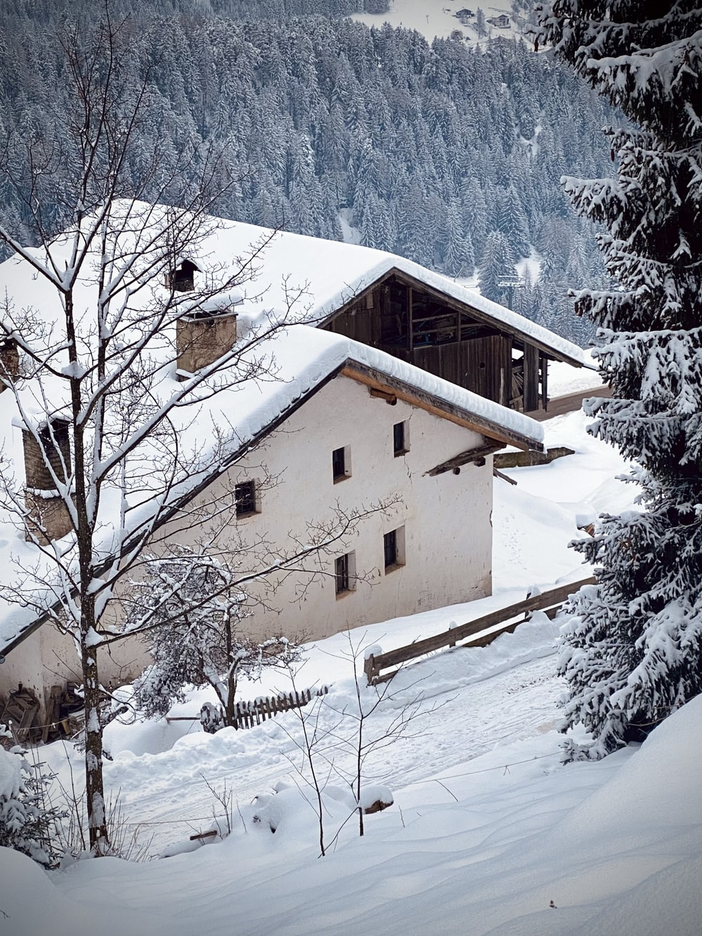 white and brown concrete house covered with snow