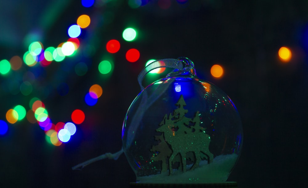 blue and white christmas bauble