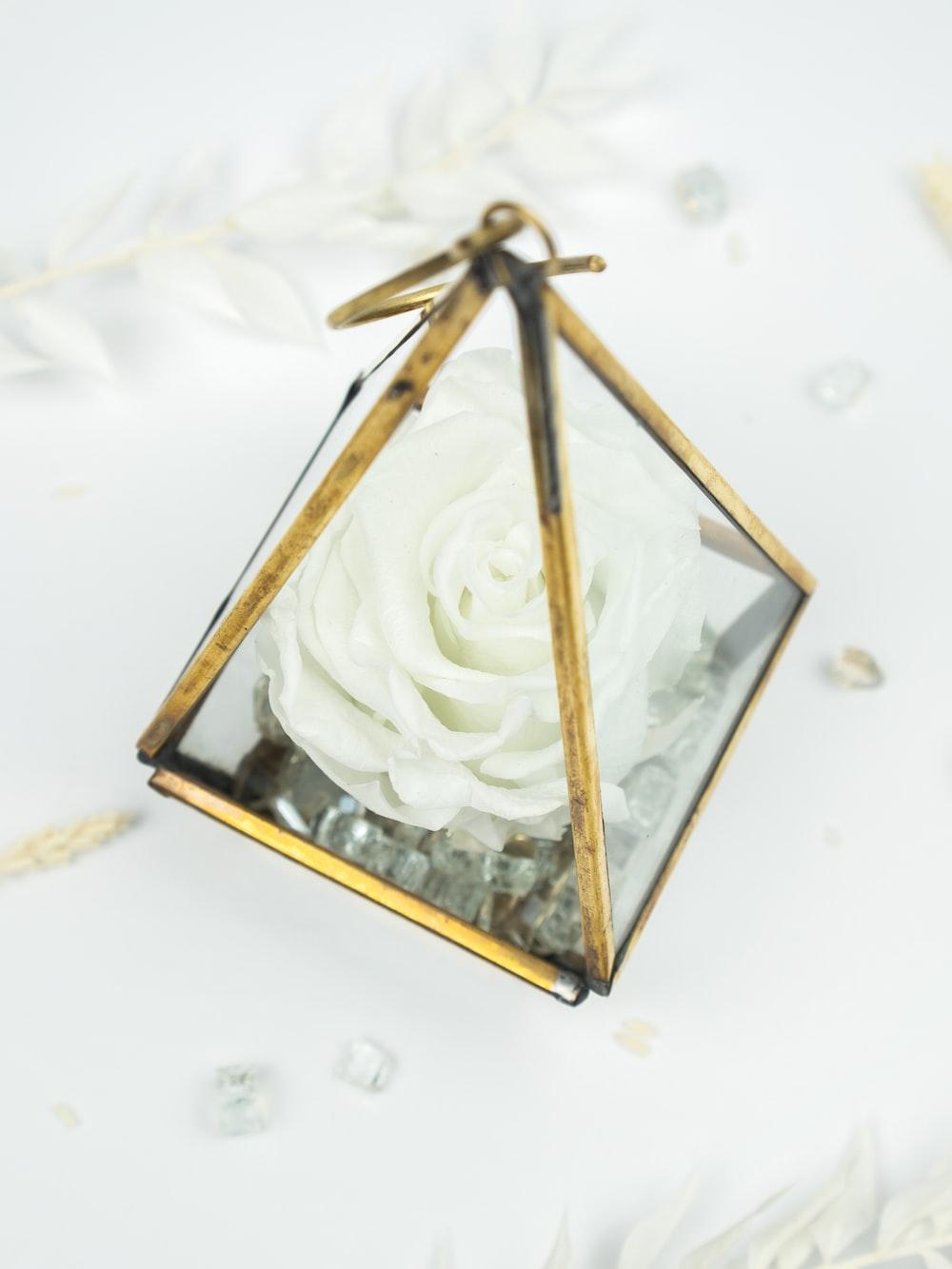 gold framed white heart shaped decor