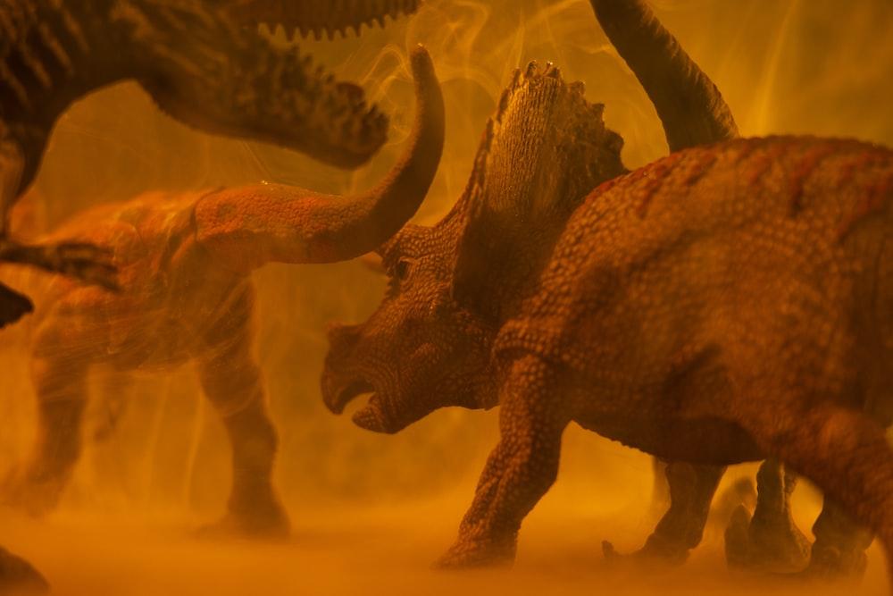 brown dinosaur on brown sand