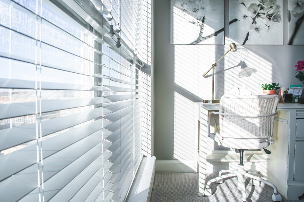 white and black striped window curtain