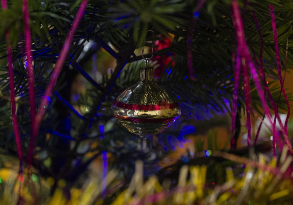 red and clear glass ball ornament