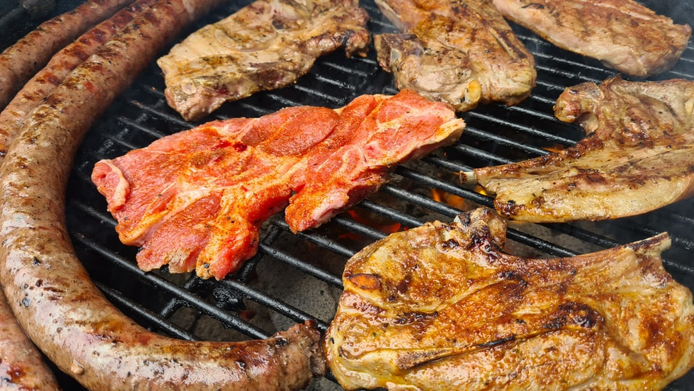 grilled meat on black grill