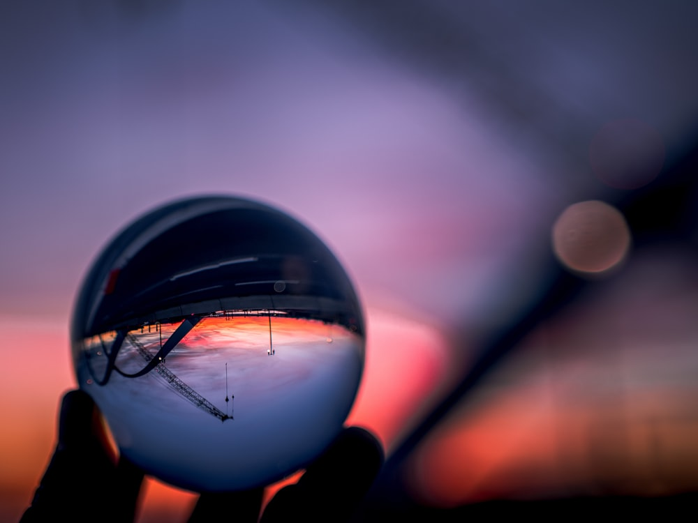 water drop on glass ball