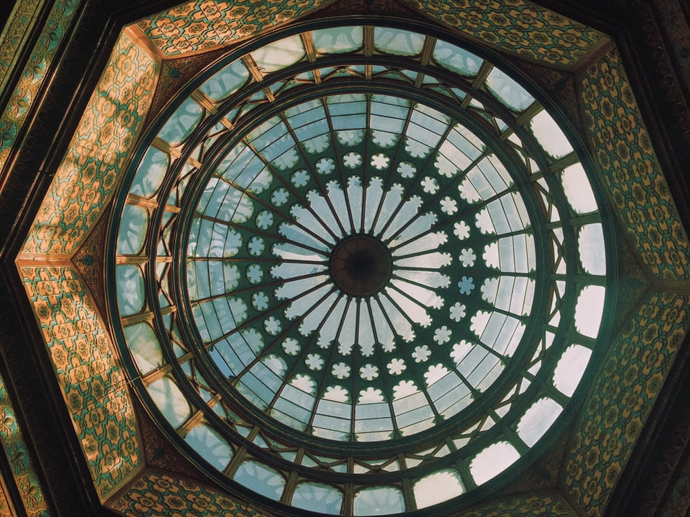 blue and white floral glass ceiling