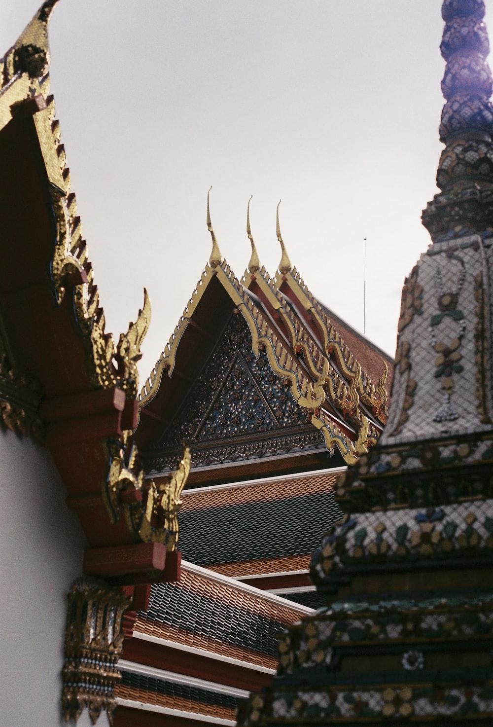 gold and white concrete temple