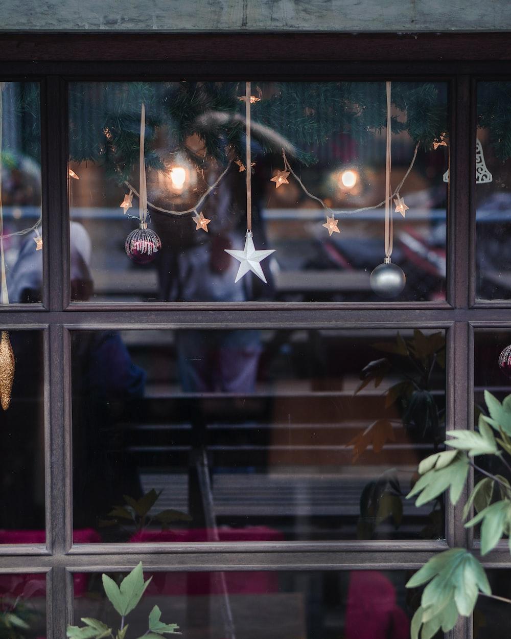 brown wicker basket on window