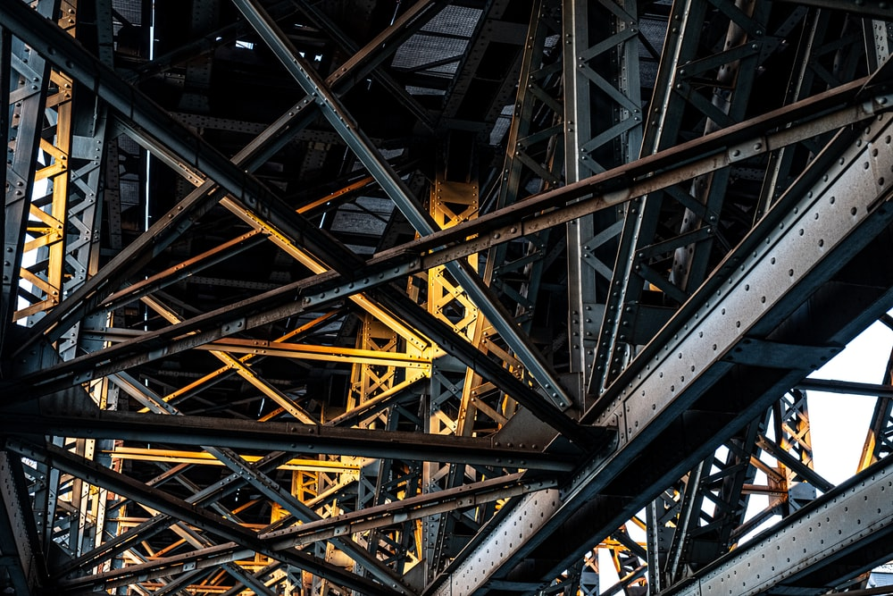 yellow metal tower with yellow metal frame