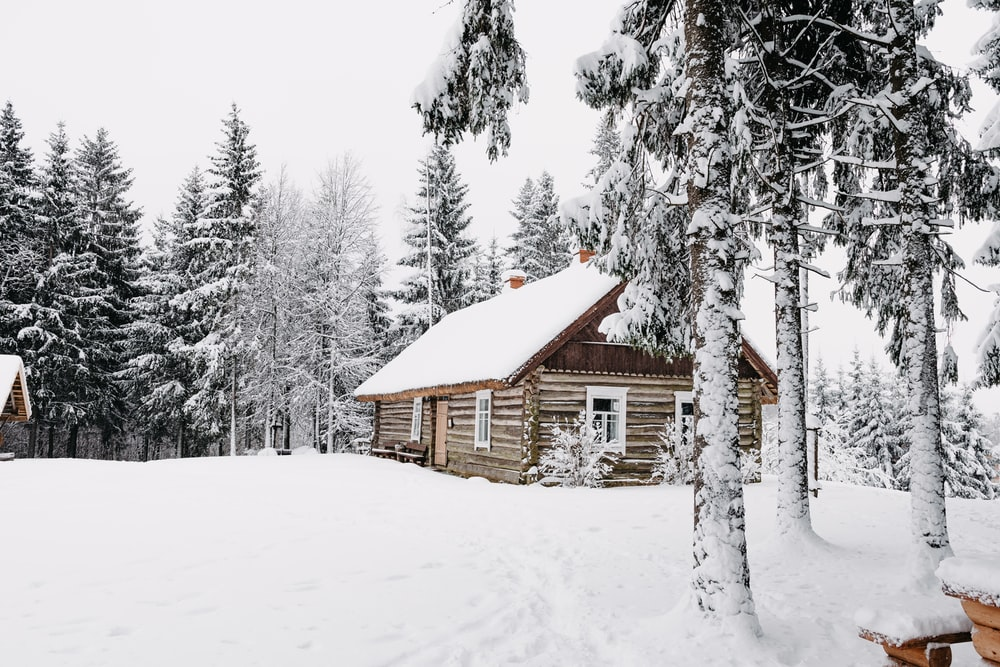 brown wooden house in the middle of snow covered field
