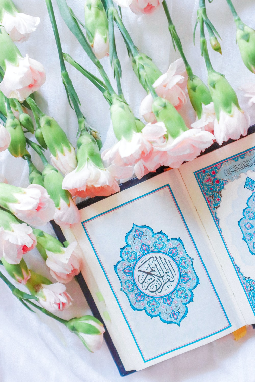 pink and white roses on blue and white floral box
