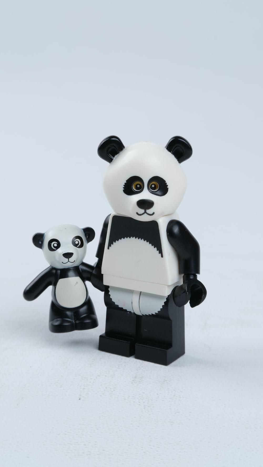 white and black panda figurine