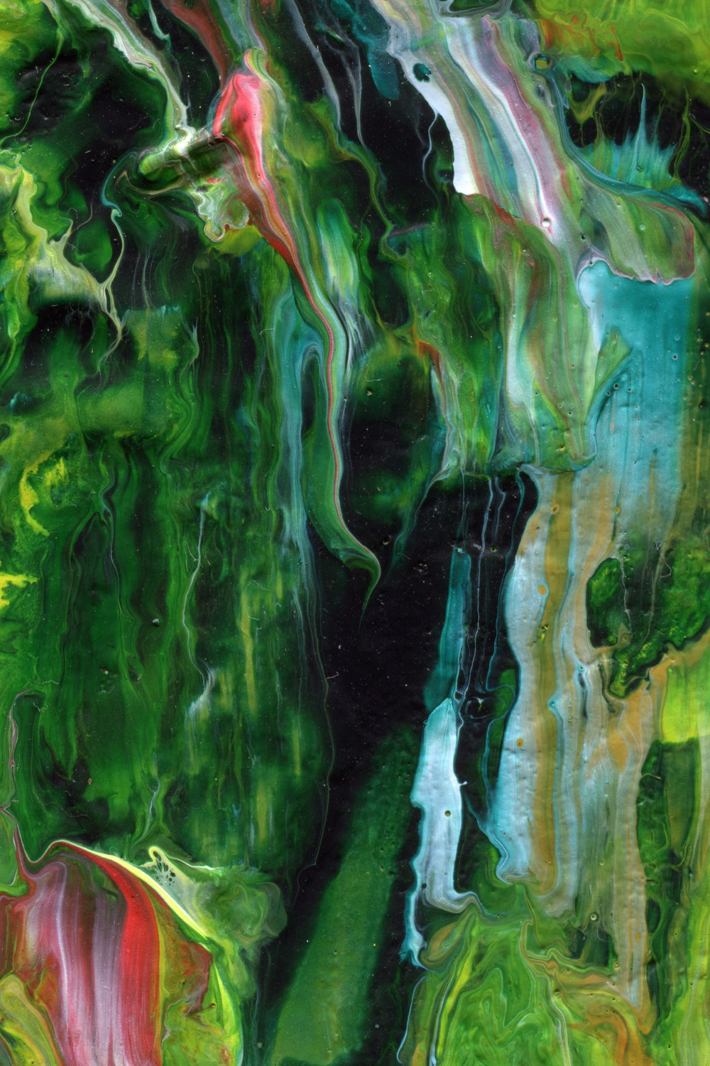 green blue and orange abstract painting