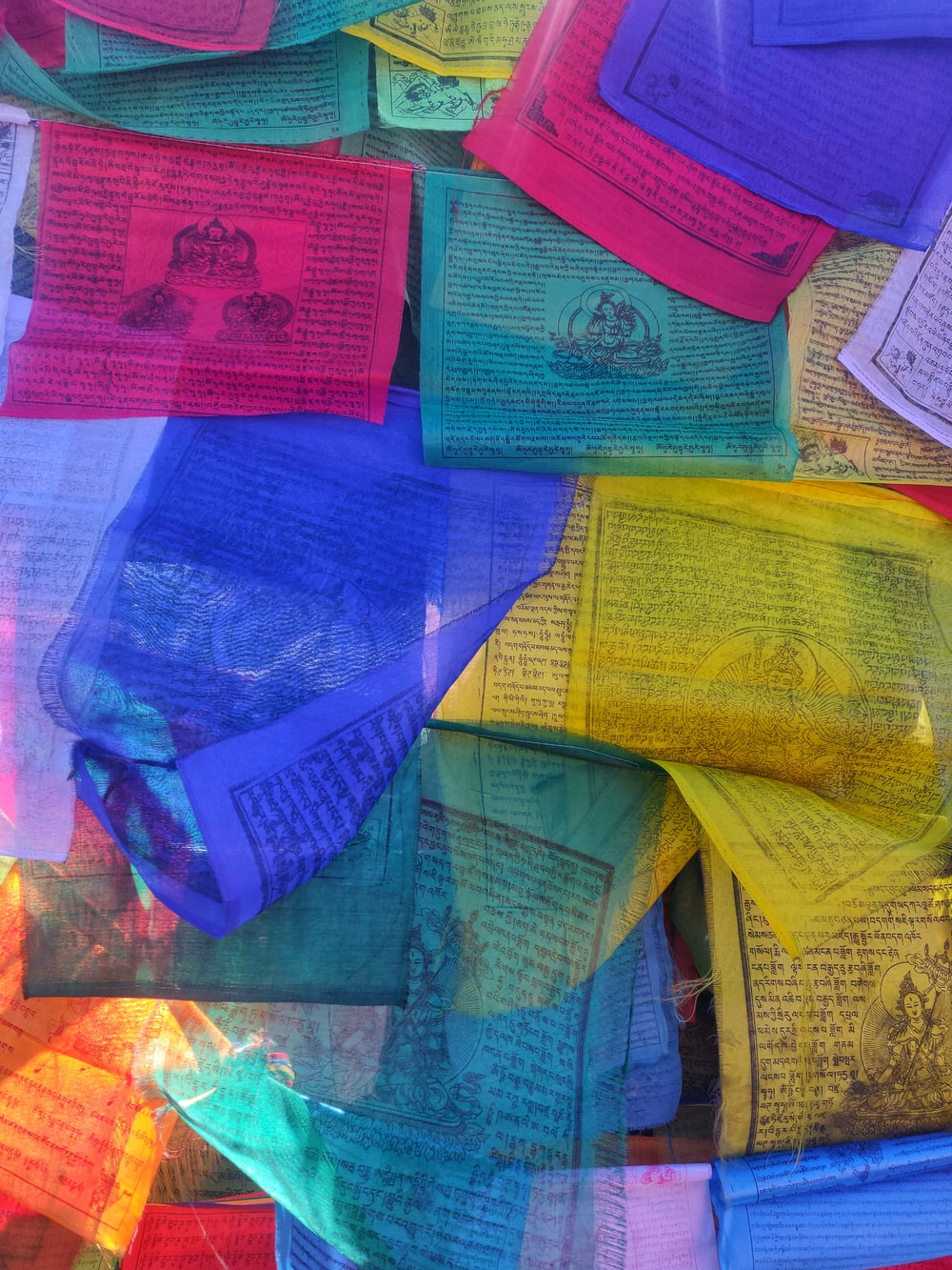 red blue and yellow banknotes