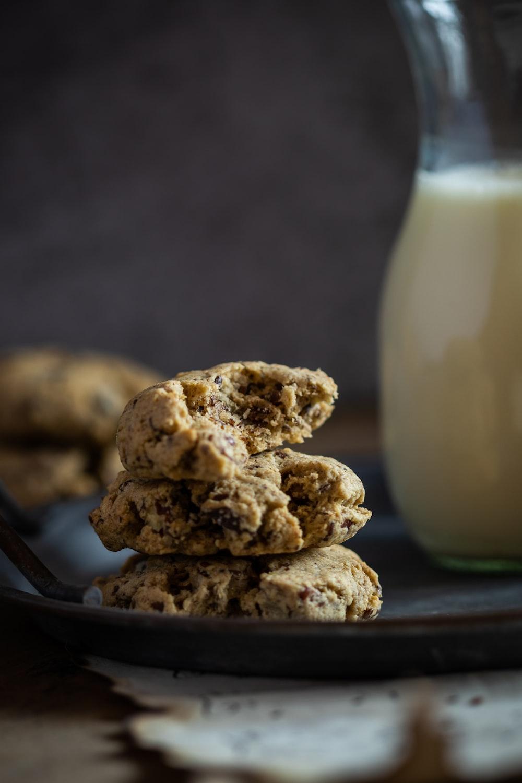 brown cookies on black plate