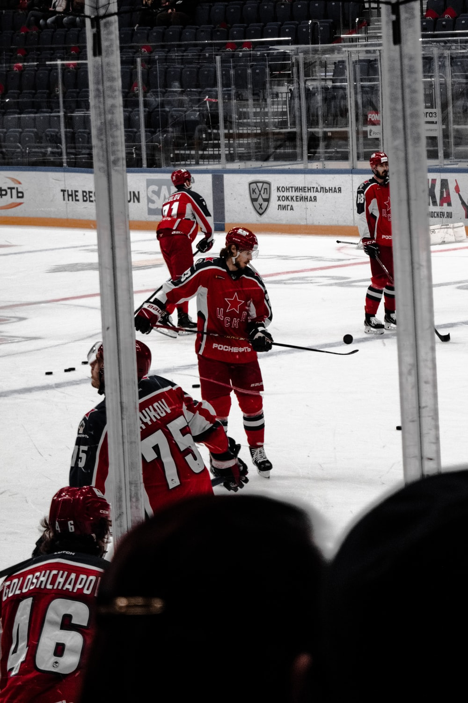 ice hockey players on ice field