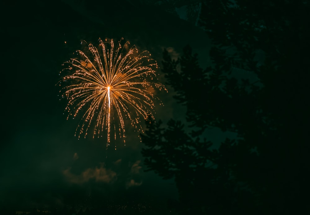orange fireworks in the sky during night time