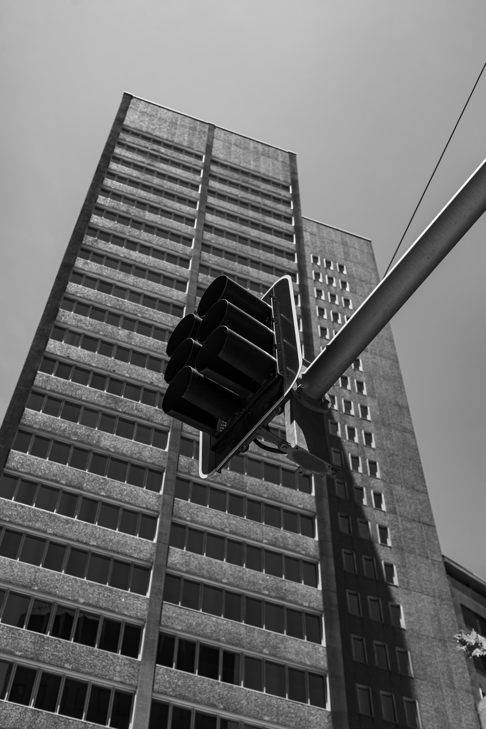 grayscale photo of traffic light